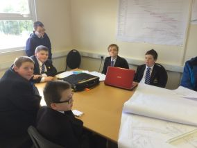 Arvalee School Pupils in the planning room at the Site
